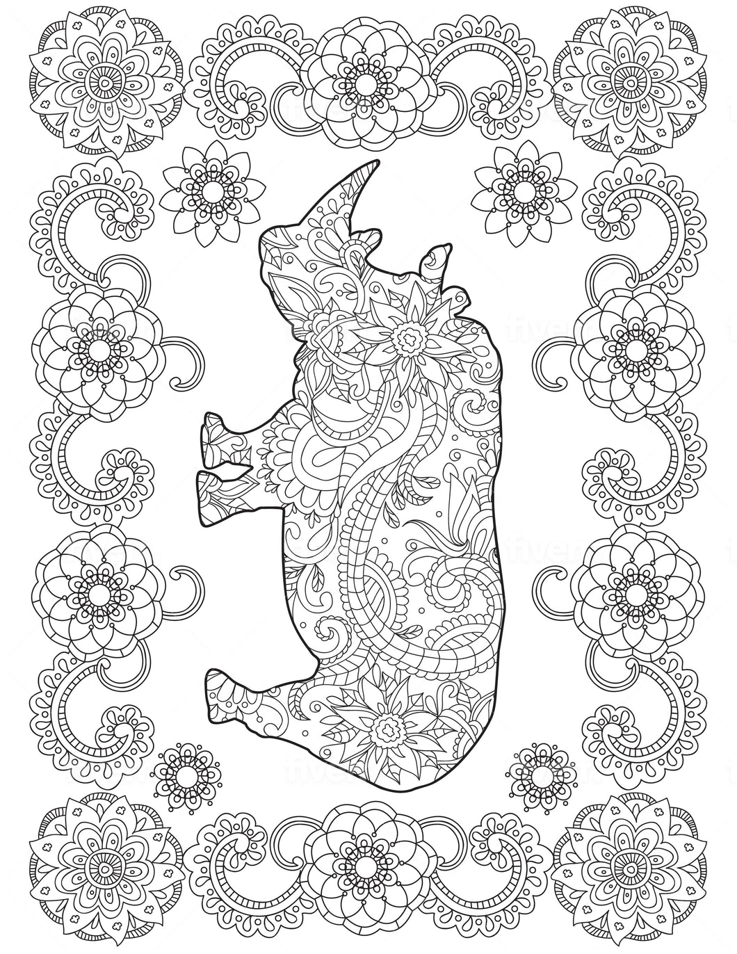 Rhino Coloring Sheet