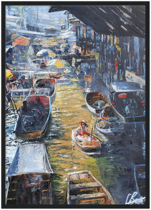 Floating Market in Bangkok - Framed Art Print
