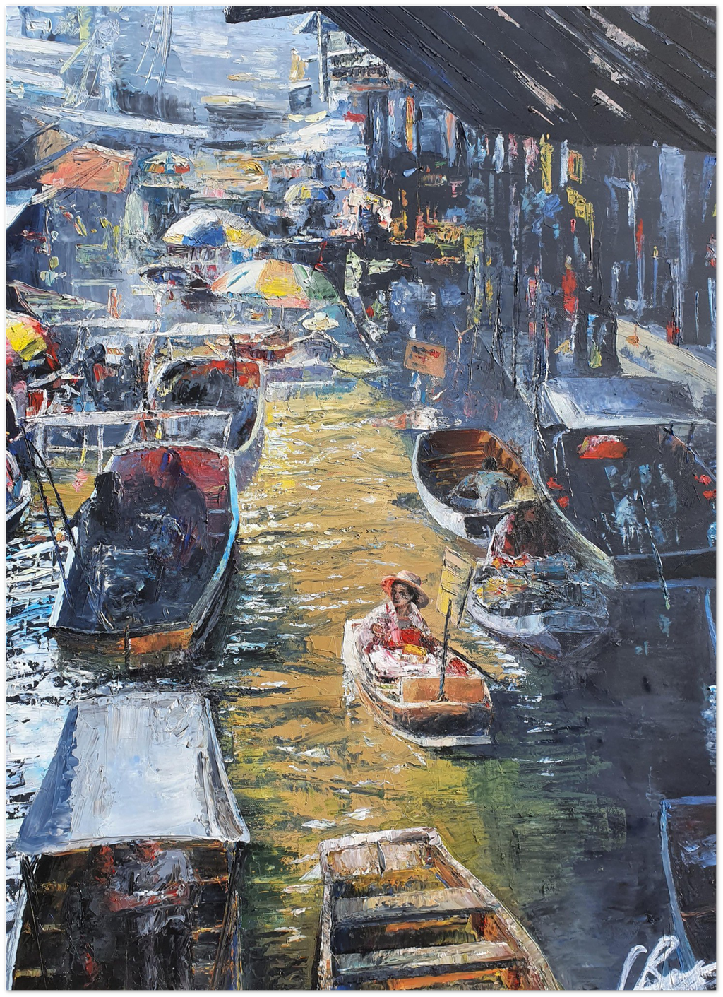 Floating Market in Bangkok - Art Print