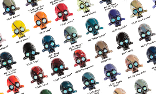 Crop of Northstar Glasswork's Collaborative Color List Poster with AKM - Featuring Andrew's Split Skulls in every color offered at the time, encased and raw.