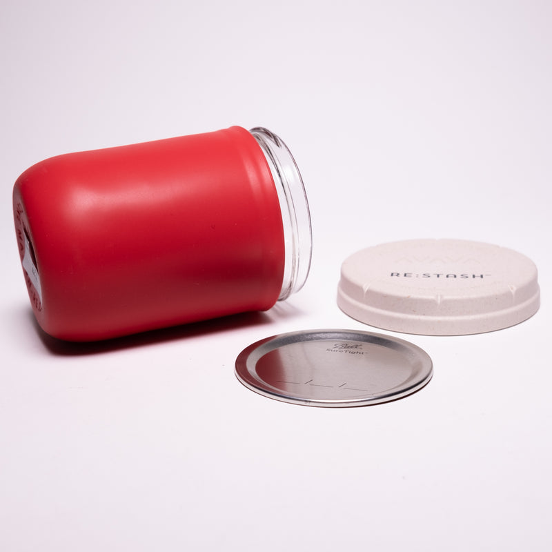 Re:Stash - Red Jar w/ White Lid - 16oz