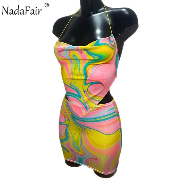 Nadafair Tie Dye Beach Sexy Dress Women Two Piece Set Club Outfits Backless Crop Tops And Mini Skirts Suit Bodycon Summer Dress