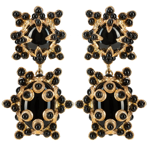 Lucia Earrings Gold & Black