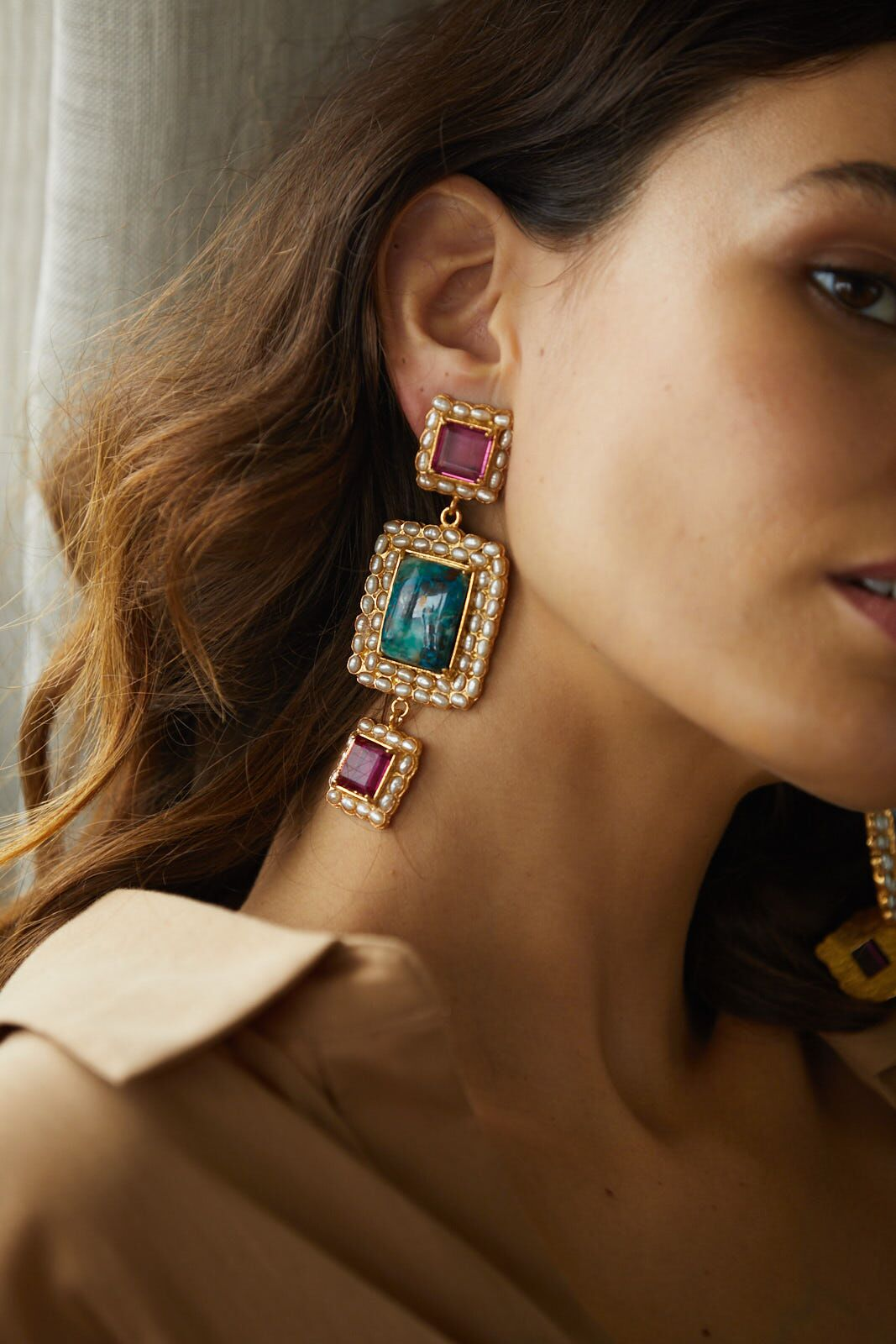 Varese Earrings Turquoise & Pink