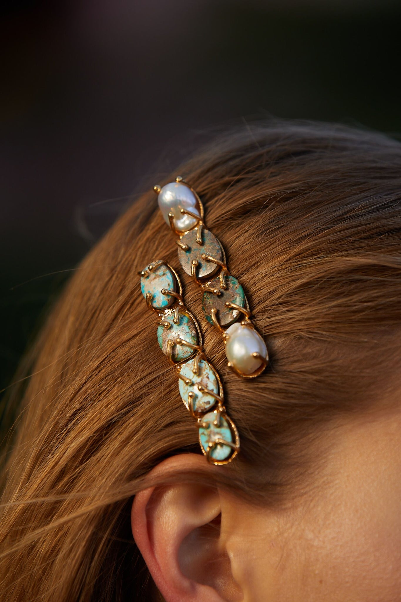 Ana Hair Clip Turquoise & Pearl