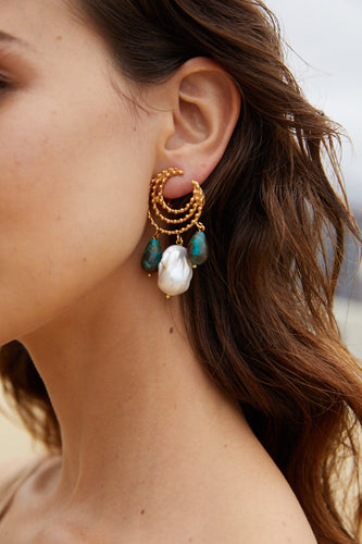 Vivia Earrings Turquoise & Pearl
