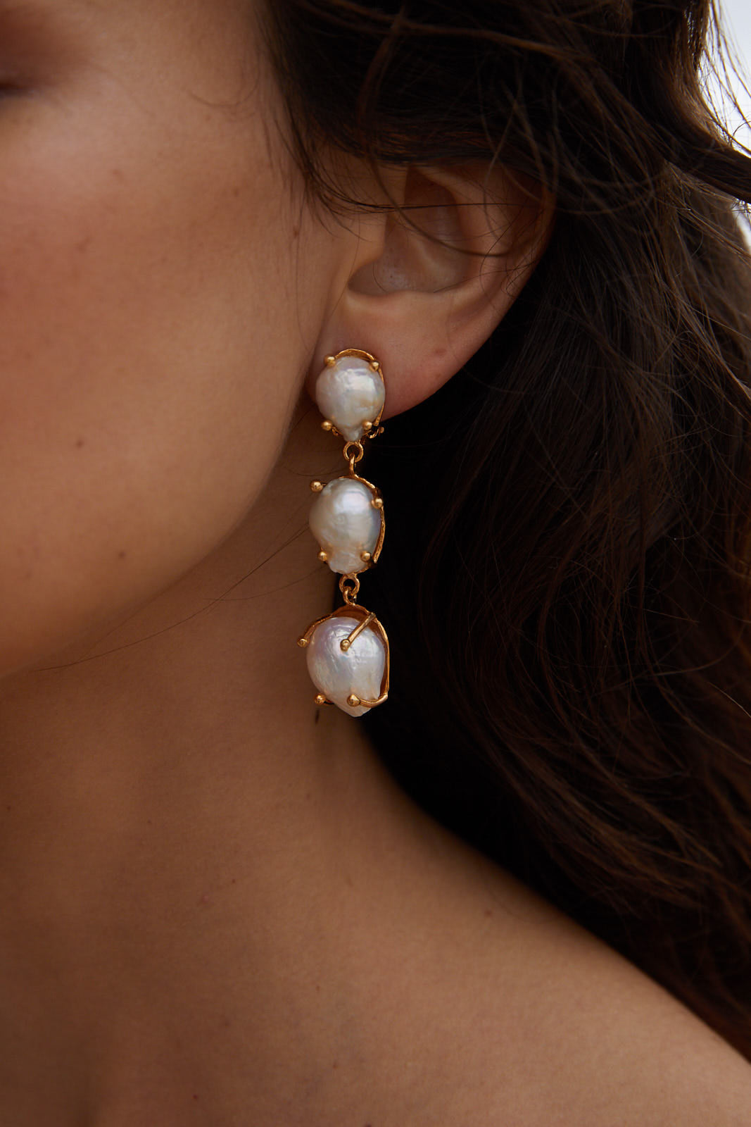 Sandrine Earrings Gold & Pearl