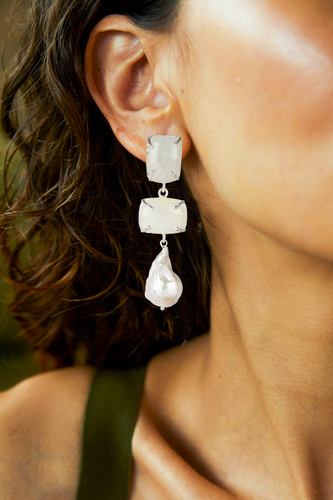 Loren Earrings White & Silver