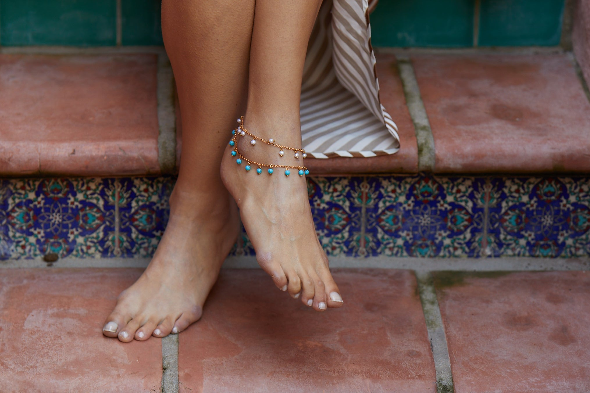 Isla Anklet Pale Pink