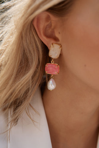 Loren Earrings White & Pink