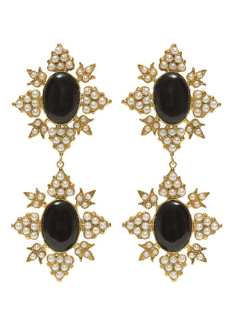 Cleon Earrings Gold & Black