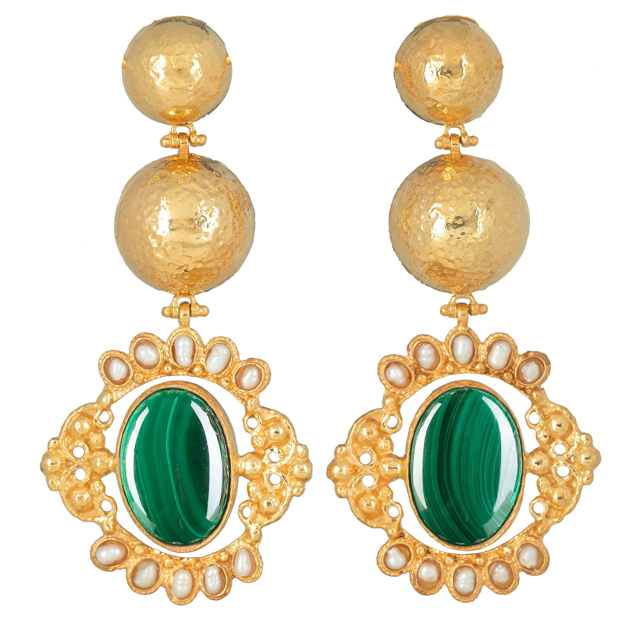 Paloma Earrings Malachite