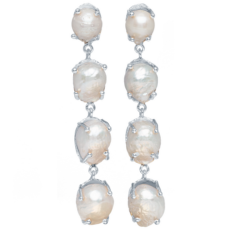 Sorella Earrings Silver & Pearl