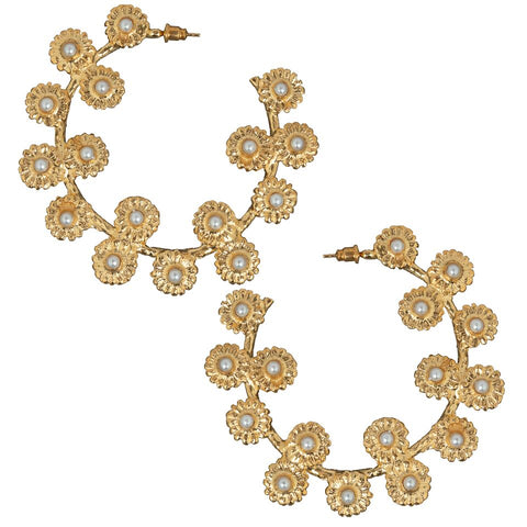 Mini Daisy Hoops Gold