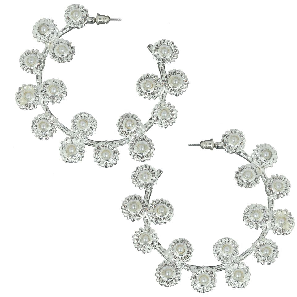 Mini Daisy Hoops Silver