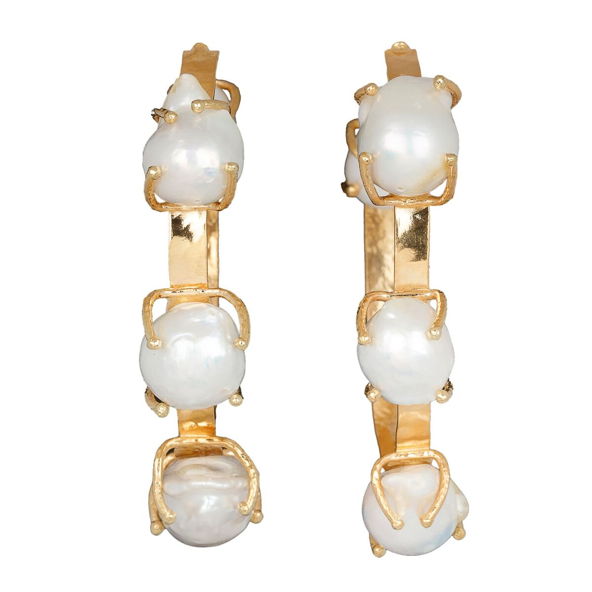 Ingrid Hoops Gold/Pearl