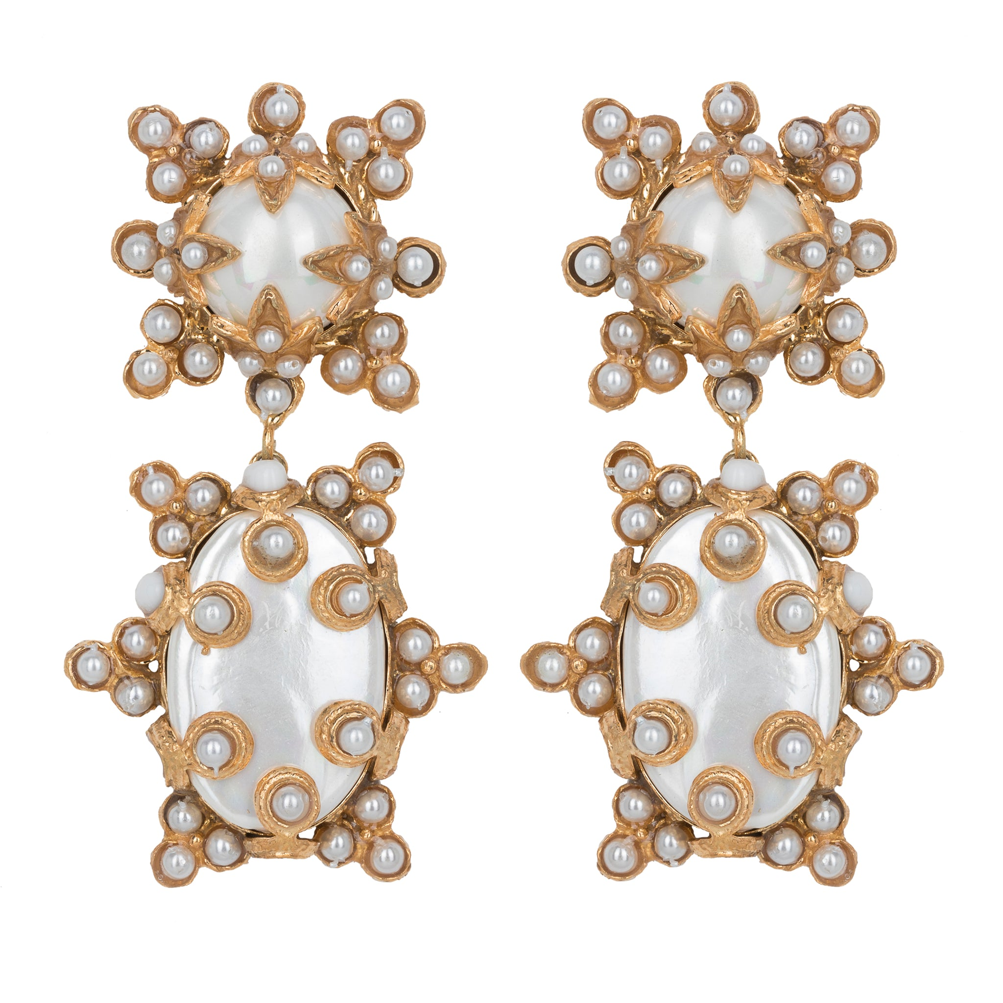 Lucia Earrings Gold/White