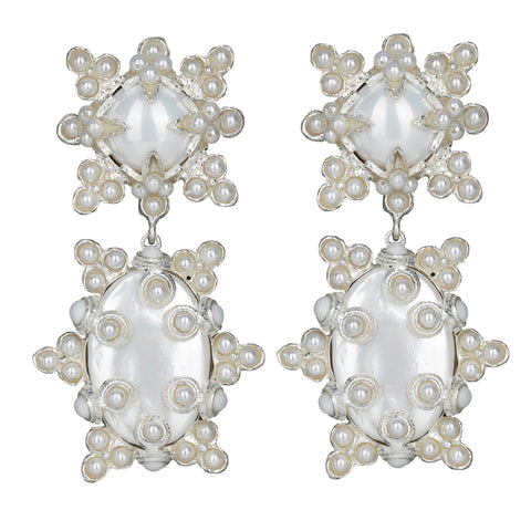 Lucia Earrings Silver/White