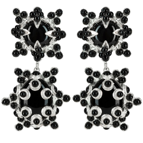 Lucia Earrings Silver & Black