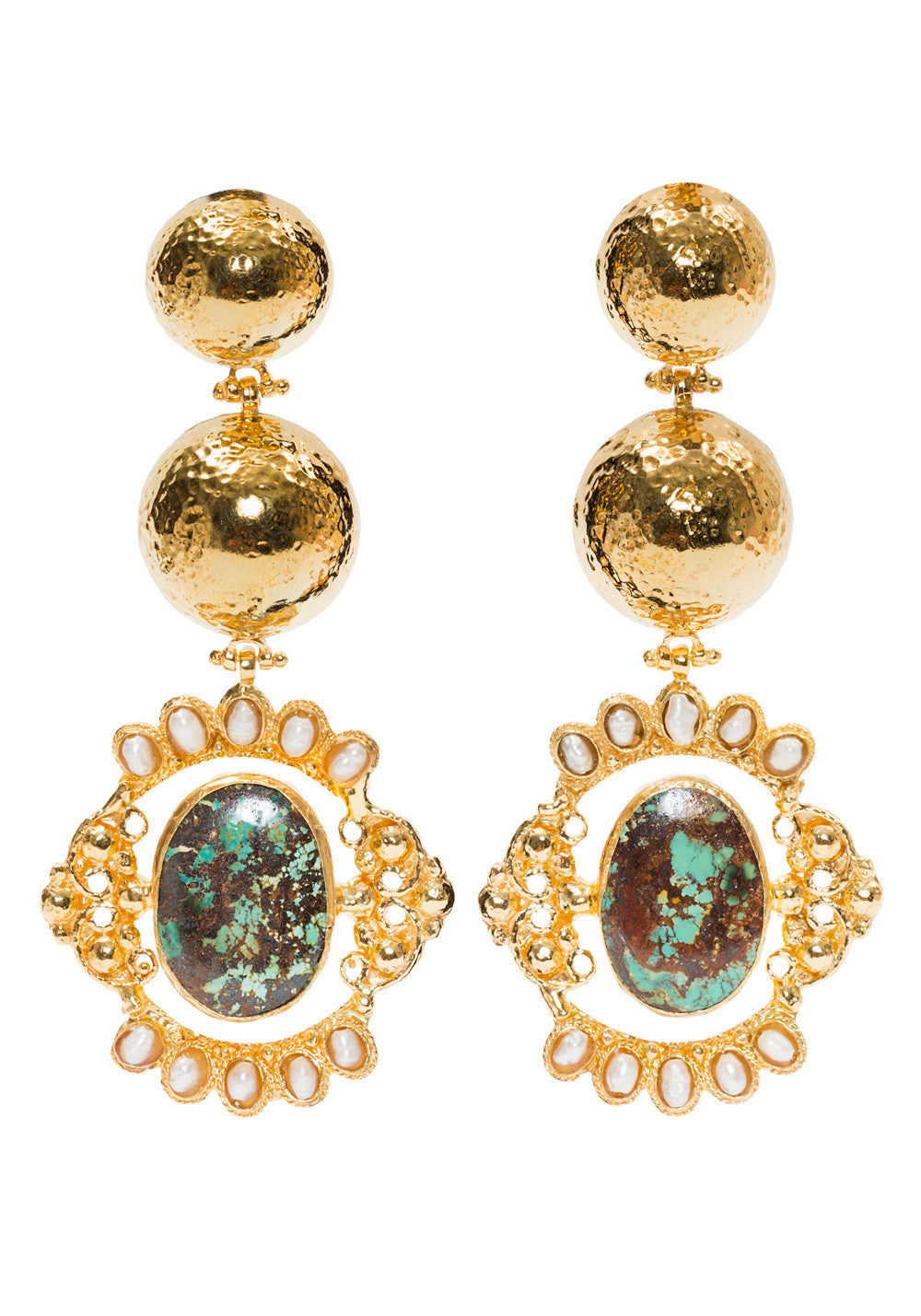 Paloma Earrings Gold/Turquoise