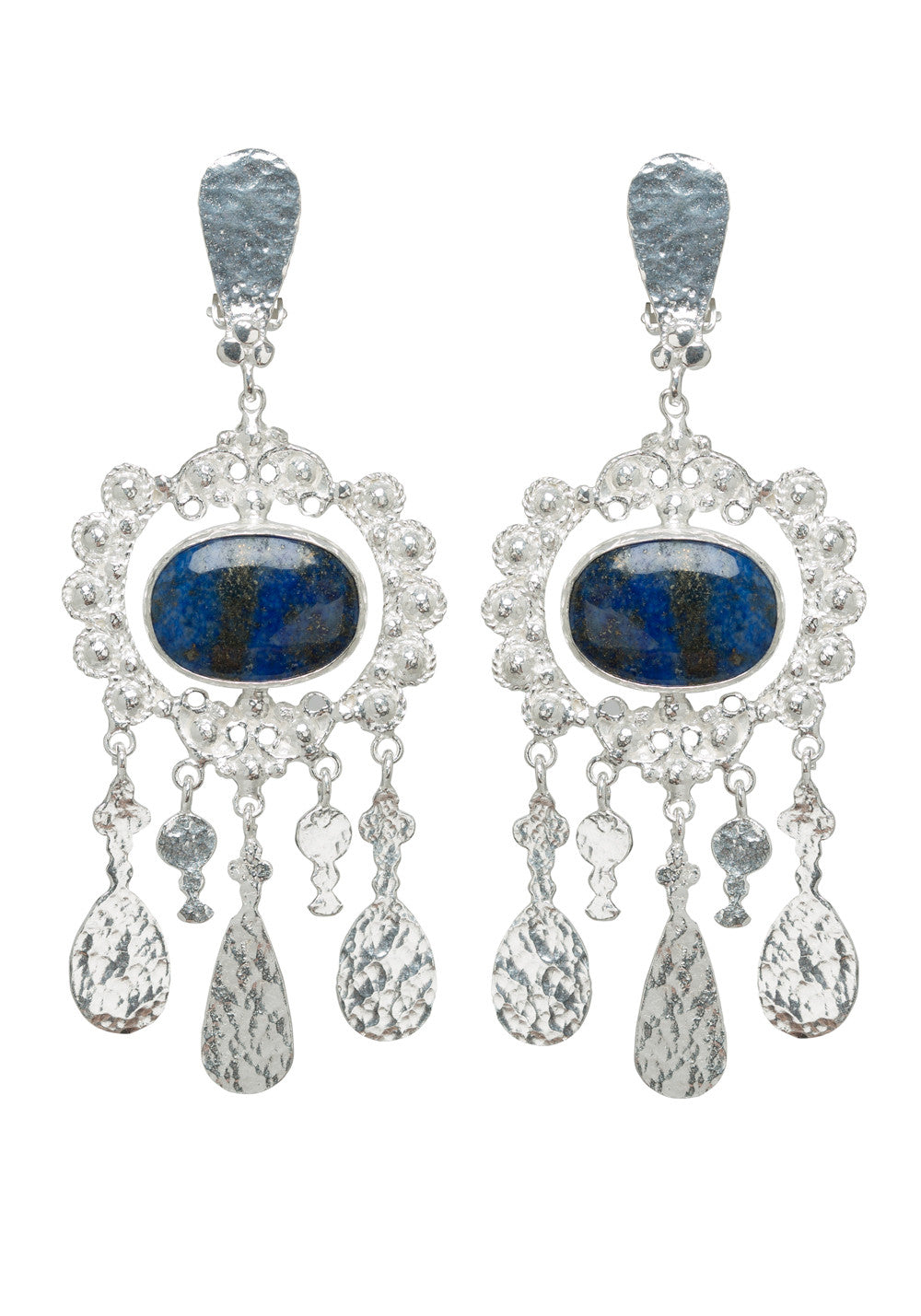 Iris Earrings Silver & Lapis