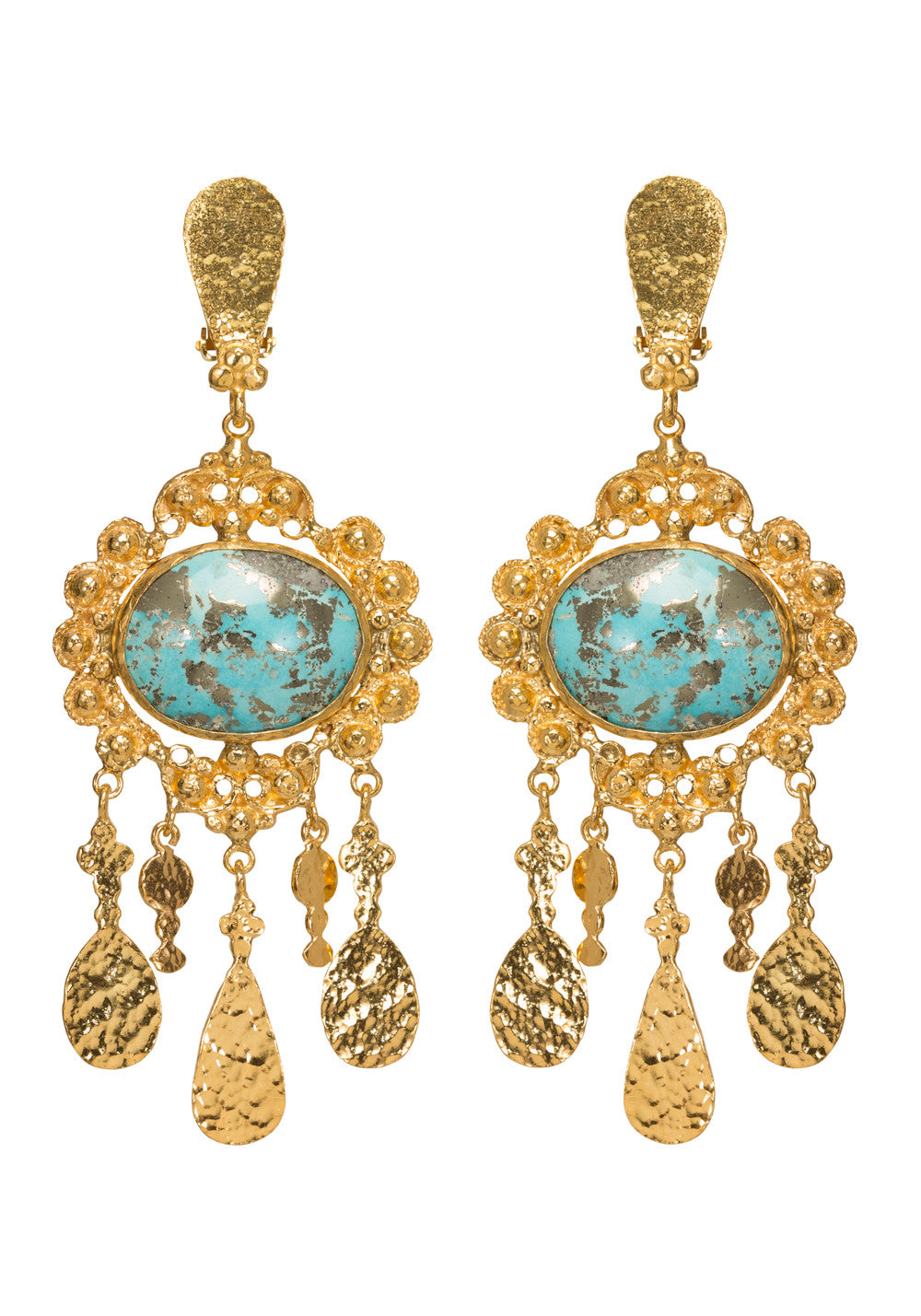 Iris Earrings Gold & Turquoise