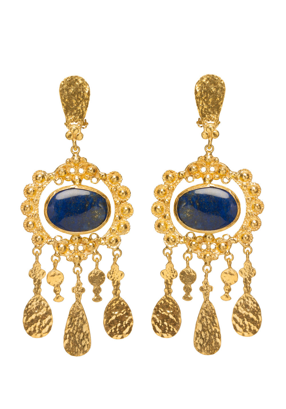 Iris Earrings Gold & Lapis