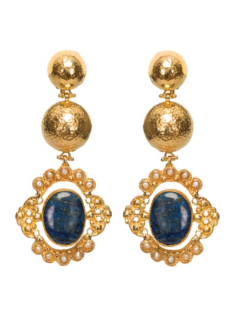 Paloma Earrings Gold & Lapis