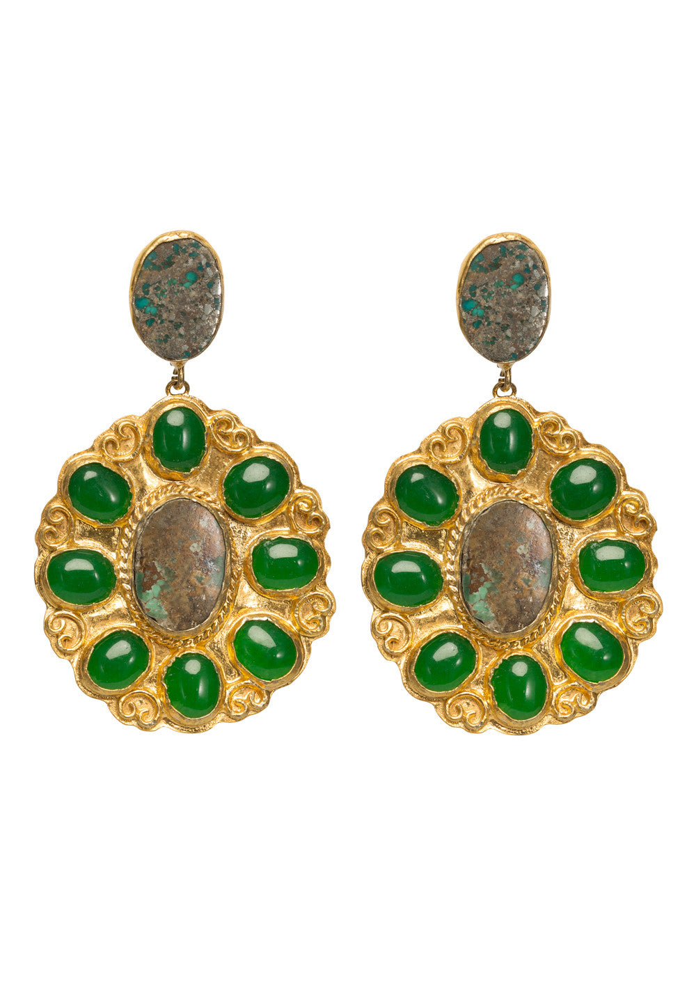 Valentina Earrings Gold & Turquoise