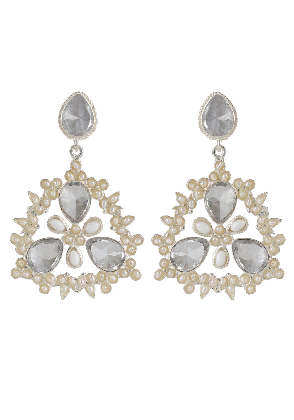 Delilah Earrings Silver & Crystal