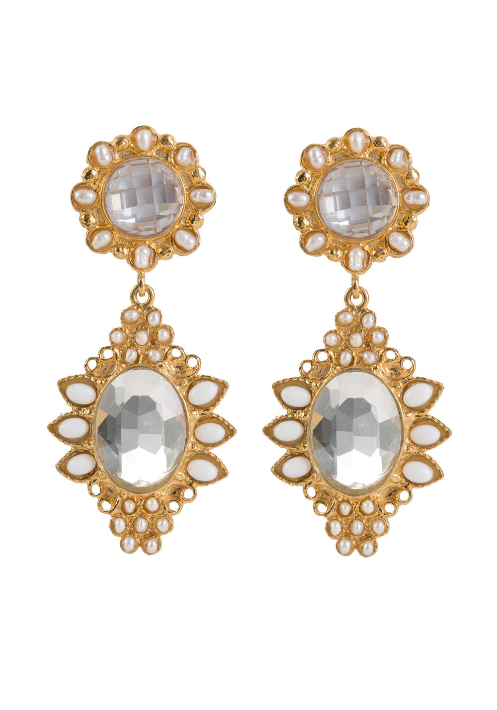 Septima Earrings Gold & Crystal