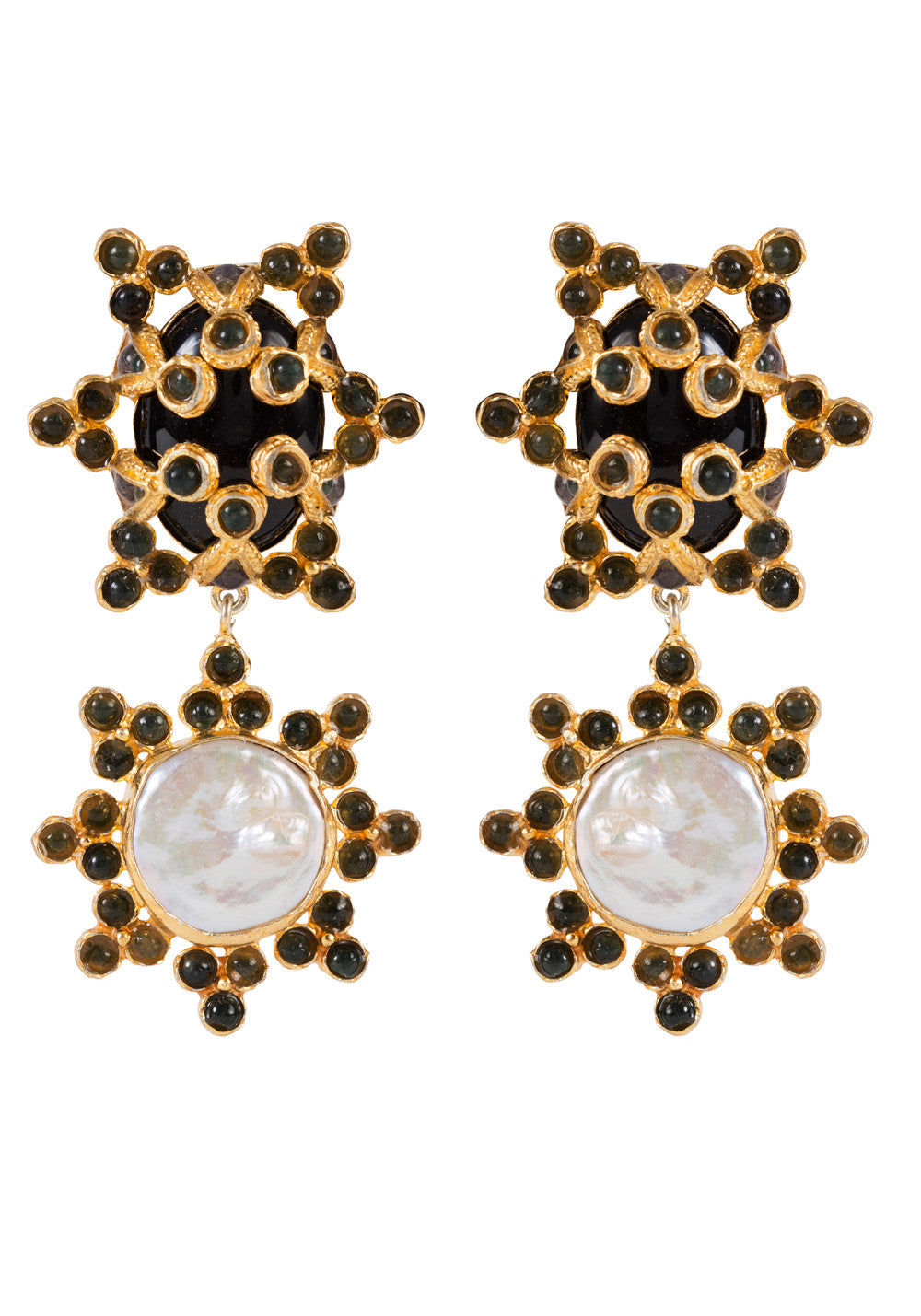 Bettina Earrings Black, Green & Pearl