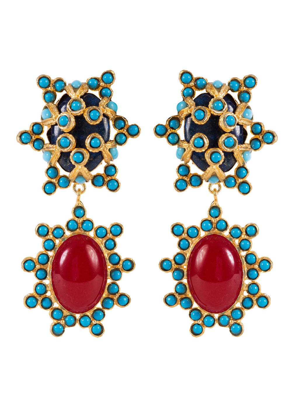 Bettina Earrings Gold & Lapis