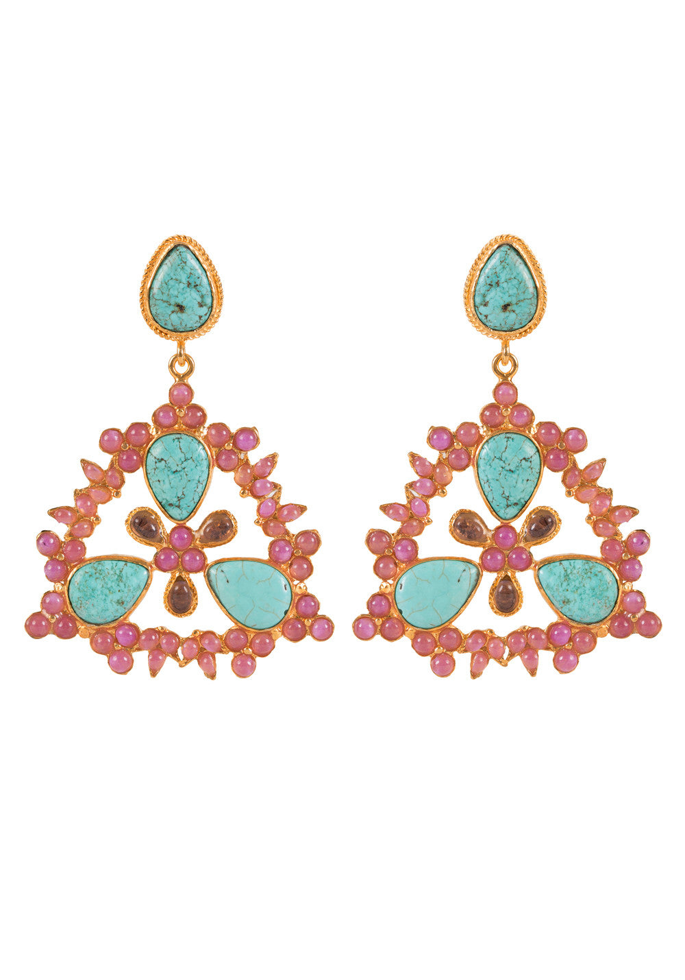 Delilah Earrings Gold & Turquoise