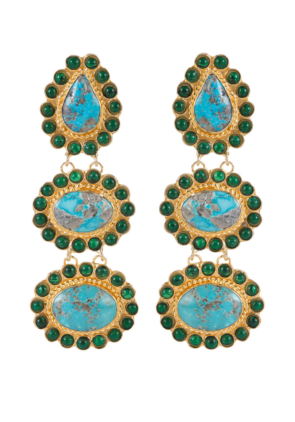 Alexandria Earrings Gold & Turquoise