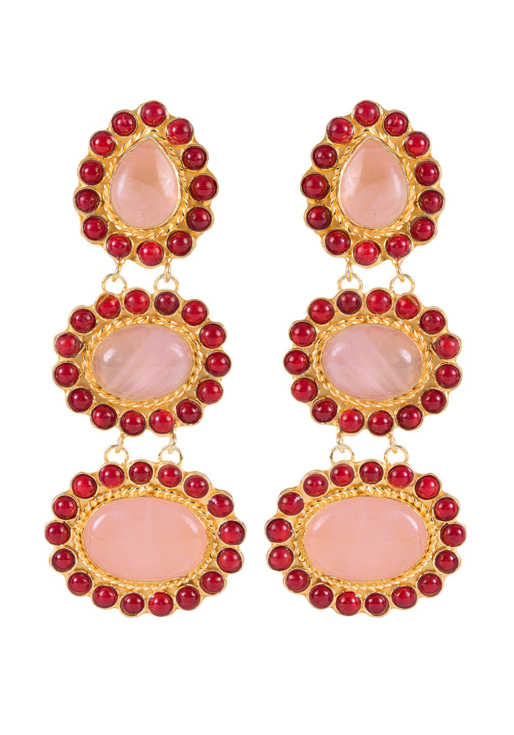 Alexandria Earrings Gold & Pink