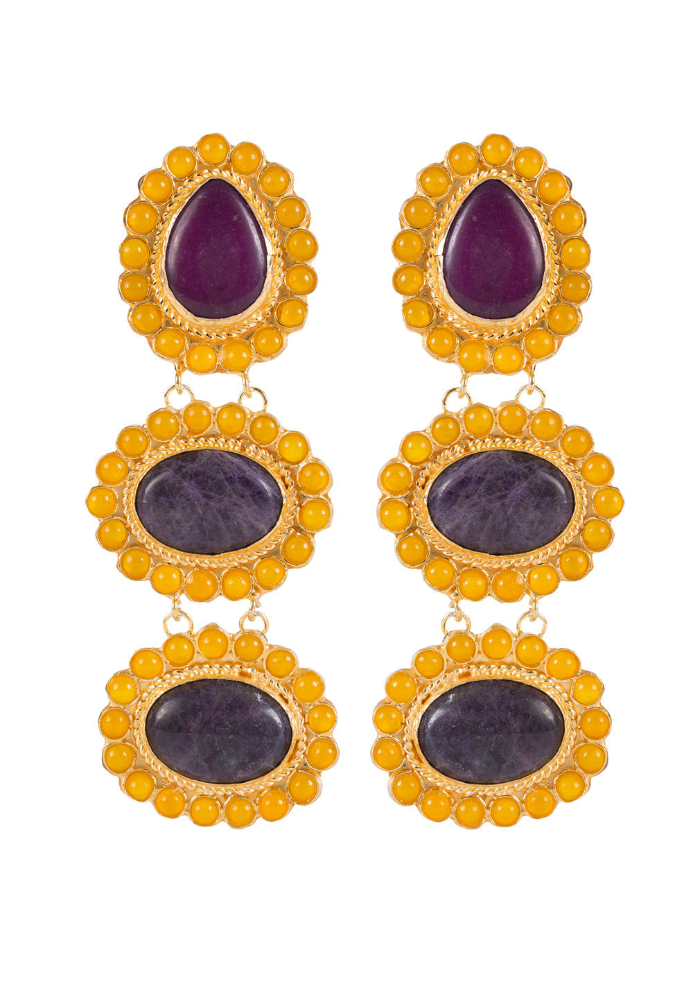 Alexandria Earrings Gold & Ameythst