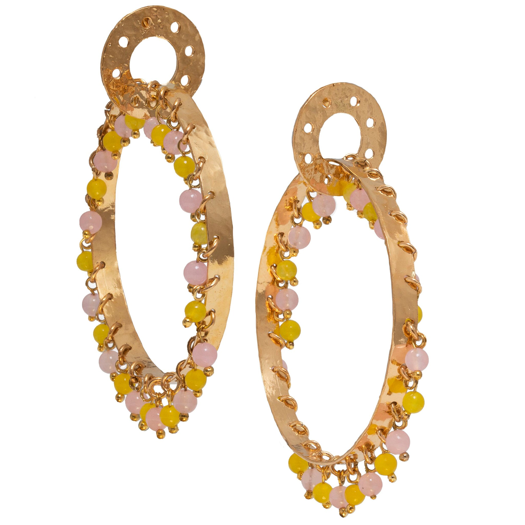 Milana Earrings Pale Pink & Yellow