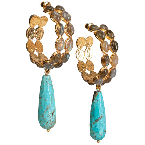 Marvela Earrings Grey & Turquoise