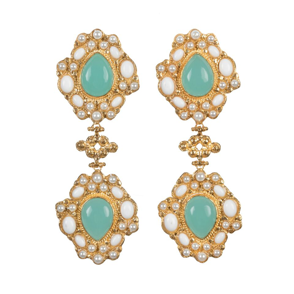 Carlotta Earrings White Green