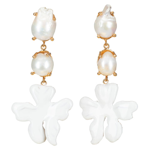 Delilah Earrings White
