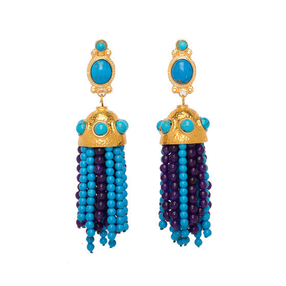 Short Tassel Earrings Gold & Turquoise