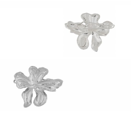 Mini Elena Hair Clip Silver (Pair)