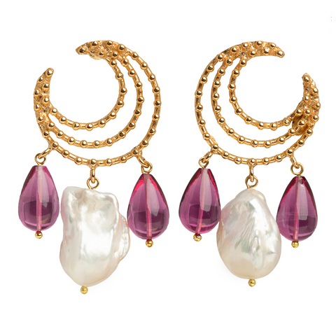 Vivia Earrings Pink & Pearl