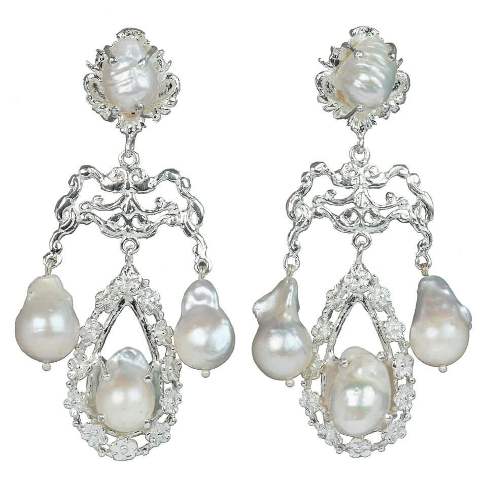 Liliana Earrings Silver/Pearl