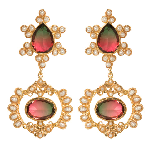 Zoe Earrings Watermelon Crystal