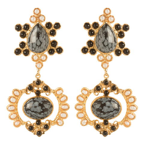 Zoe Earrings Snowflake Obsidian