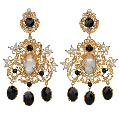 Angelina Earrings Black/Pearl