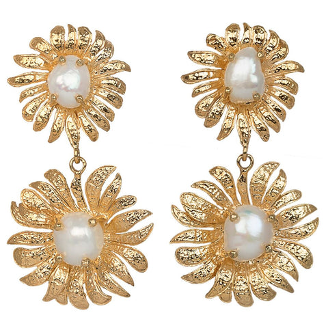 Evelynne Earrings Gold/Pearl