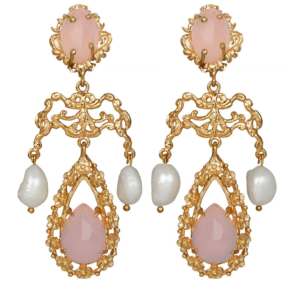 Liliana Earrings Gold/Pale Pink